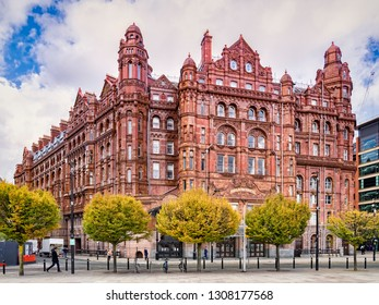 2 November 2018: Manchester, UK -  The Midland Hotel, a historic railway hotel facing the now closed Manchester Central Station.