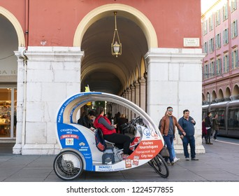 2 November 2018 - Nice, France. Modern day rikshaw, tourist attraction bike -taxis in France called Cyclos.