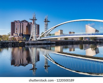 2 November 2018: Salford Quays, Manchester, UK - The Lowry Bridge, or Millennium Footbridge, which spans the Manchester Ship Canal between Salford and Trafford.
