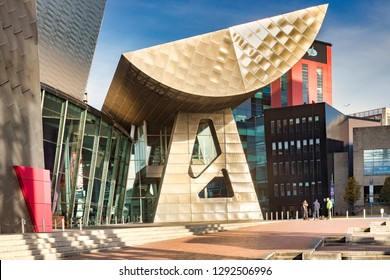 2 November 2018: Salford Quays, Manchester, UK -  The Lowry, the gallery and museum complex celebrating the life of L.S. Lowry. It was designed by James Stirling and Michael Wilford .