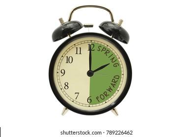 2 o'clock Spring Forward alarm clock white background