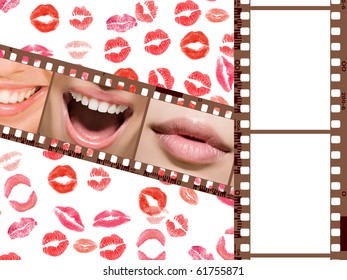 2 photo frames on the background of the lips