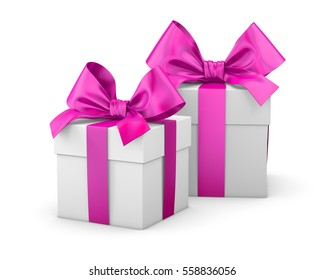 2 pink gift boxes for valentine day white background 3d rendering