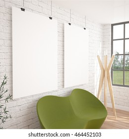 2 Posters Mock-UP In Contemporary Interior With Green Sofa