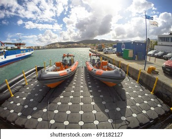 the 2 rescue boats of chios department of greek rescue team 7/2017 chios/greece
