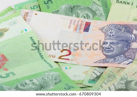 2 Ringgit Malaysia Notes Green Banknotes Stock Photo (Edit Now