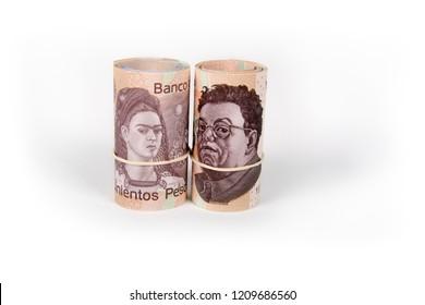 2 rolls of Mexican pesos 500 pesos, Frida Kahlo and Diego Rivera