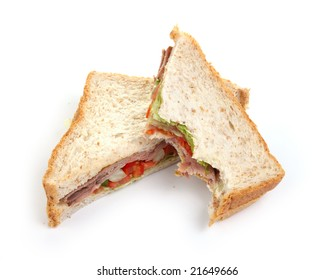 2 sandwich slices isolated on white background