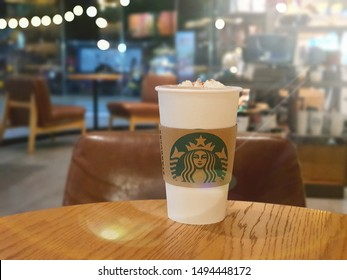 2 Sep 2019; Bangkok Thailand: Starbucks Hot Coffee Take away Cup at Starbucks Cafe Coffee Shop
