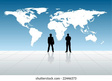 2 silhouettes and world map
