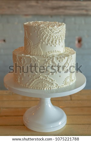 2 Tier Wedding Cake Butter Cream Stock Photo (Edit Now) 1075221788 ...