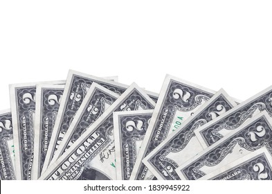 2 US dollars bills lies on bottom side of screen isolated on white background with copy space. Background banner template