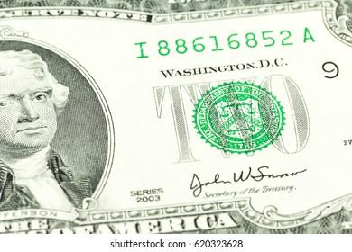 2 us-dollar bank note obverse detail