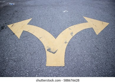 2 Yellow Arrow  on Road