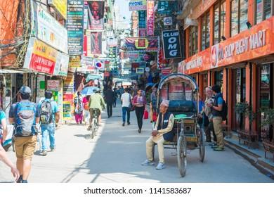 20 April 2018 - Nepal cycle rickshaw for tourist in Thamel , Kathmandu