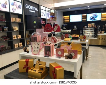 20 April 2019; Bangkok Thailand: Interior of Godiva Chocolate and dessert shop.Godiva is a chocolatier European franchise for sale chocolate, candy, popcorn and snack.