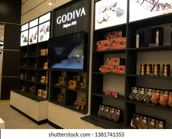 20 April 2019; Bangkok Thailand: Shelves of Chocolate boxes and dessert at Godiva Chocolate shop.Godiva is a chocolatier European franchise for sale chocolate, candy, popcorn and snack.