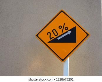 20% ascent traffic sign