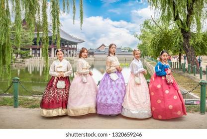 20 August 2018:Korean girls dress hanbok in traditional dresses in gyeongbokgung palace, Seoul, South Korea