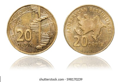 20 azerbaijani qepik coin isolated on white background - Shutterstock ID 598170239