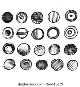 20 black and grey watercolor banners and bubbles. Isolated shapes and brush strokes on white background. Hand drawn elements for web design.