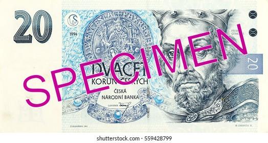 20 czech koruna bank note obverse