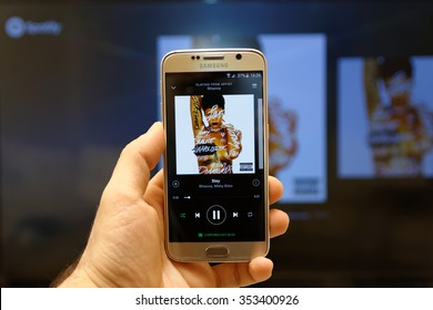 20 December 2015, Istanbul - Turkey: Spotify Swedish music service that offers legal streaming music. Was launched in October 2008. Rihanna album in Spotify mobile app.