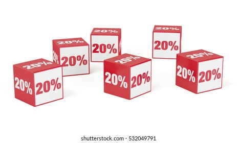 20% discount as special offer with red cubes (3D Rendering)