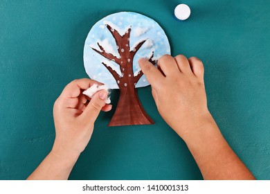 20 Diy paper tree four seasons summer, autumn, winter, spring. Tree 4 season. Childrens creativity. Gift idea, decor. Step by step. Top view. Process kid children craft Workshop