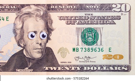20 dollar bill with big eyes of the president. Surprised dollar concept.