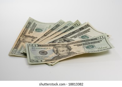20 Dollar Bills fanned out
