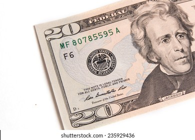 20 dollars banknote isolated on white background