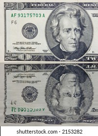 The 20 dollars banknote macro with reflection