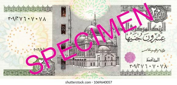 20 egyptian pound bank note full frame obverse