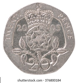 20 English pence with the image of Tudor Rose