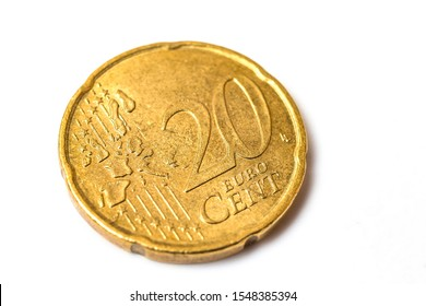 20 euro cent coin isolated on white background