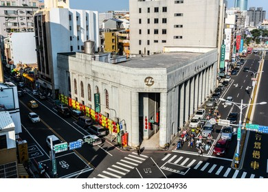 20 February 2018, Tainan Taiwan : Aerial top view of the 1928 Land Bank neoclassical style building in Tainan Taiwan