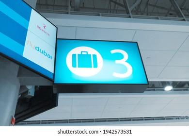 20 February 2021, Dubai, UAE: Flydubai and Rossiya Airport Baggage Claim