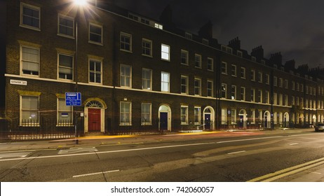 20 Gower Street B by night, Georgian Terrace Buildings in Bloomsbury, central London