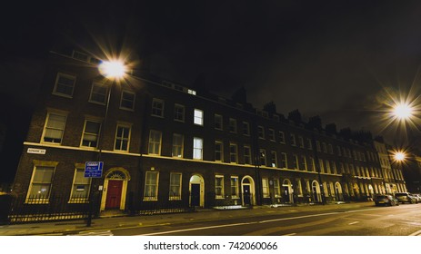 20 Gower Street A by night, Georgian Terrace Buildings in Bloomsbury, central London