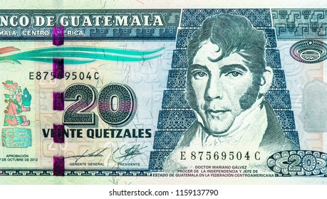 20 Guatemalan quetzal. Quetzal is the national currency of Guatemala, Close Up UNC Uncirculated - Collection.