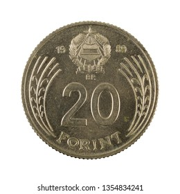 20 hungarian forint coin (1989) obverse isolated on white background