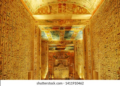 20 JAN 2019,Egypt Hieroglyphics in Valley of Kings close up detail , Gates of the Kings is a valley in Egypt for a period of nearly 500 years from the 16th to 11th century BC, for the Pharaohs.