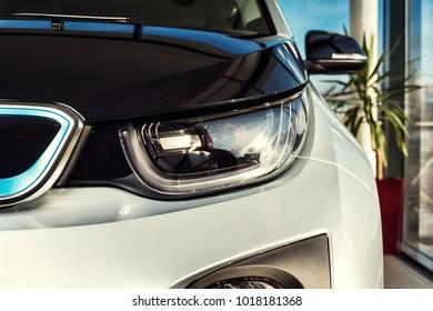 20 of January, 2018 - Vinnitsa, Ukraine. BMW i3 electric vehicle model presentation in showroom - front headlight