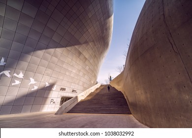 20 January 2018,Dongdaemun design plaza (DDP) landmark in seoul city south korea is the largest 3D amorphous structure in the world design by Zaha Hadid.