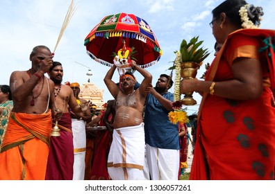 20 JANUARY 2019. Malaysian Hindus celebrated the festival of Thaipusam in Subramaniam Temple, Muar, to seeking divine blessings with offerings and spears to the more mundane ones of flower and milk