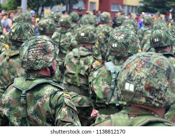 20 July 2018, Bogota, Colombia - Soldiers march past cheering crowds at the Colombian Independence Day military parade