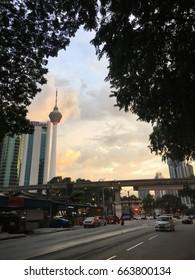 20 Jun 2017, kampung baru - Kuala lumpur tower in view from kampung baru, old village in kuala lumpur