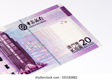 20 Macanese pataca bank note. Macanese pataca is the national currency of Macau