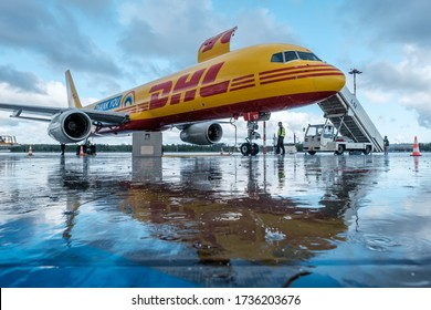"20 MAY 2020, RIGA, LATVIA - DHL cargo Boeing 757 airplane with special ""THANK YOU"" livery arrives at Riga International Airport"